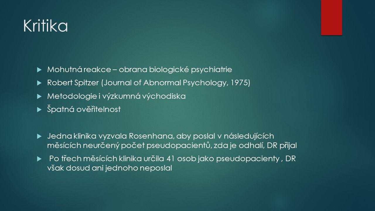 Kritika Mohutná reakce – obrana biologické psychiatrie