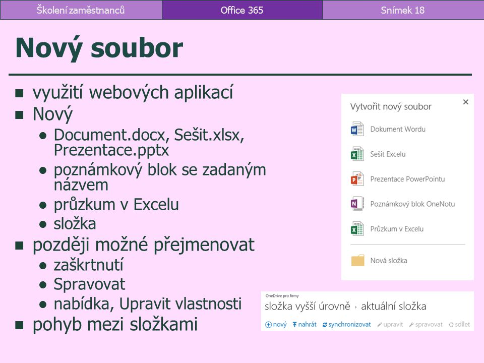 Nový soubor využití webových aplikací Nový později možné přejmenovat