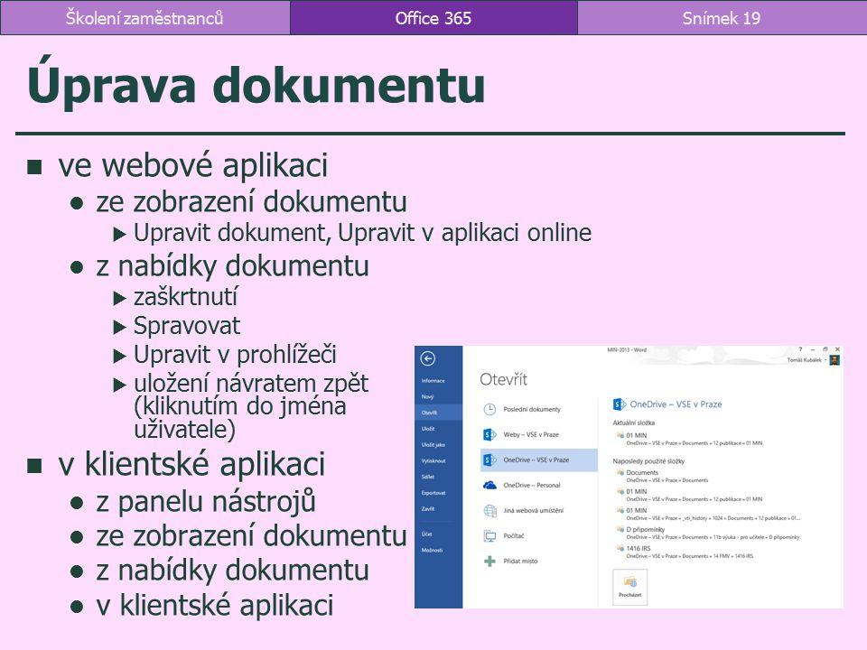 Úprava dokumentu ve webové aplikaci v klientské aplikaci