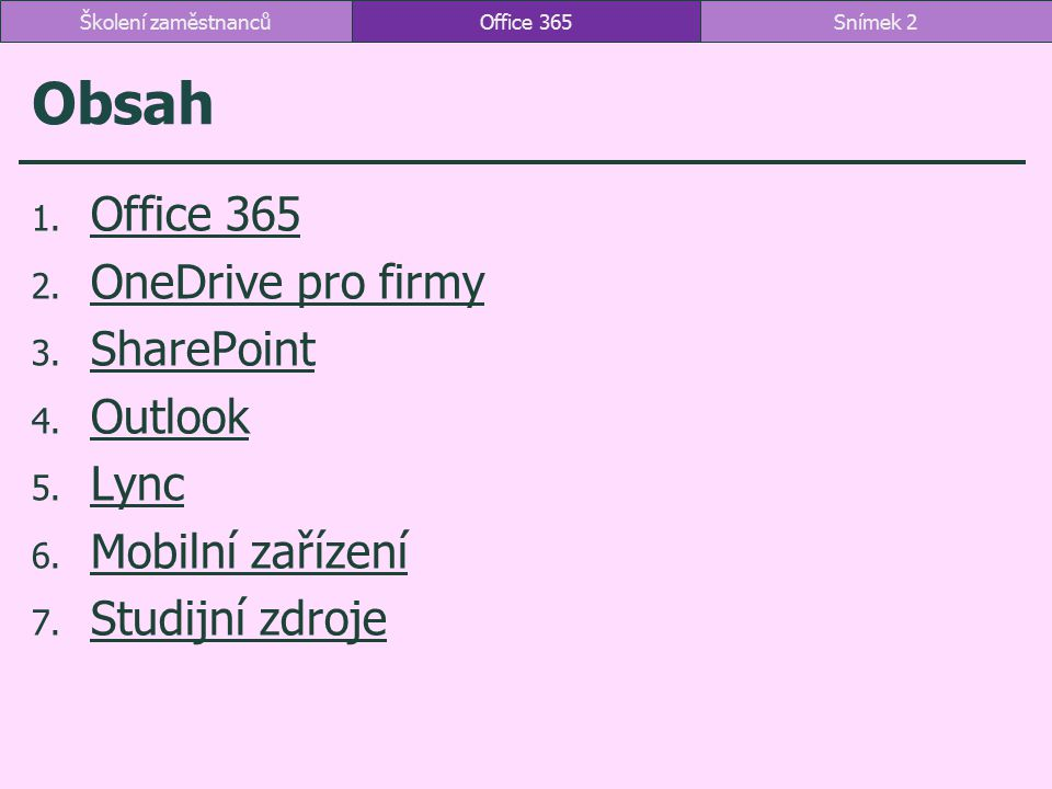Obsah Office 365 OneDrive pro firmy SharePoint Outlook Lync