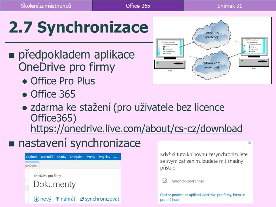 2.7 Synchronizace předpokladem aplikace OneDrive pro firmy