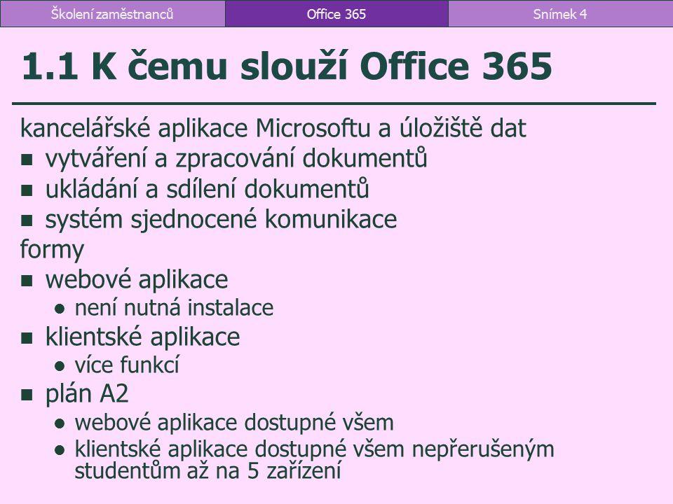 Školení zaměstnanců Office 365. 1.1 K čemu slouží Office 365. kancelářské aplikace Microsoftu a úložiště dat.