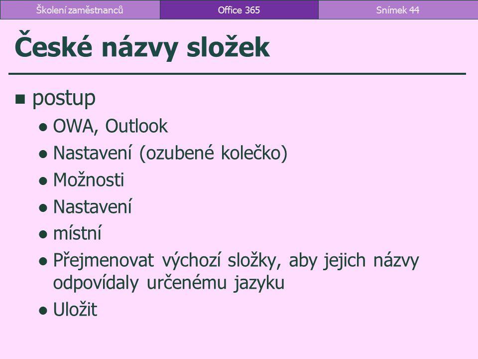 České názvy složek postup OWA, Outlook Nastavení (ozubené kolečko)