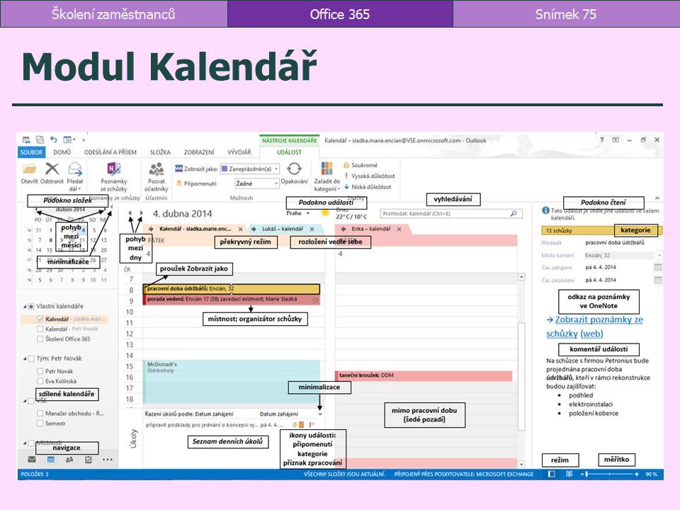 Školení zaměstnanců Office 365 Modul Kalendář