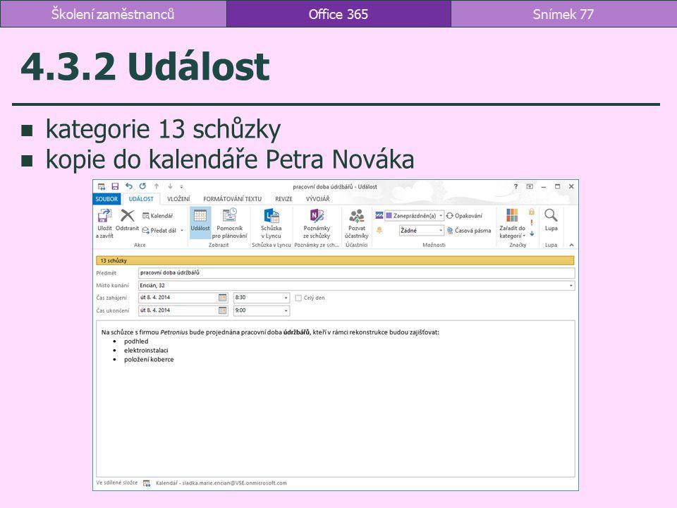 4.3.2 Událost kategorie 13 schůzky kopie do kalendáře Petra Nováka