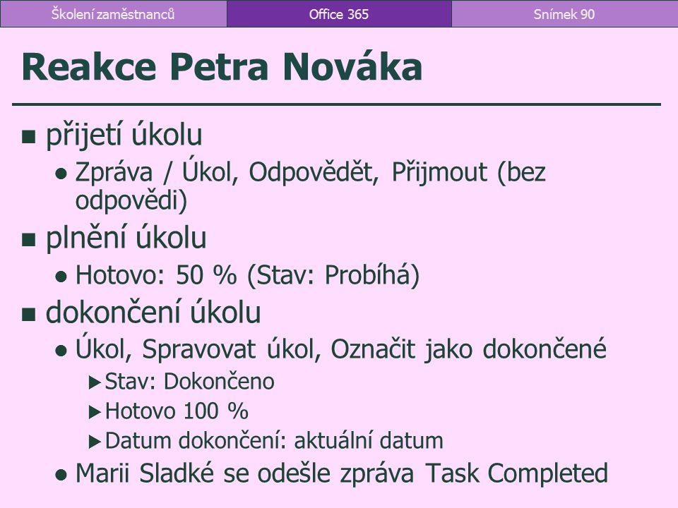 Reakce Petra Nováka přijetí úkolu plnění úkolu dokončení úkolu