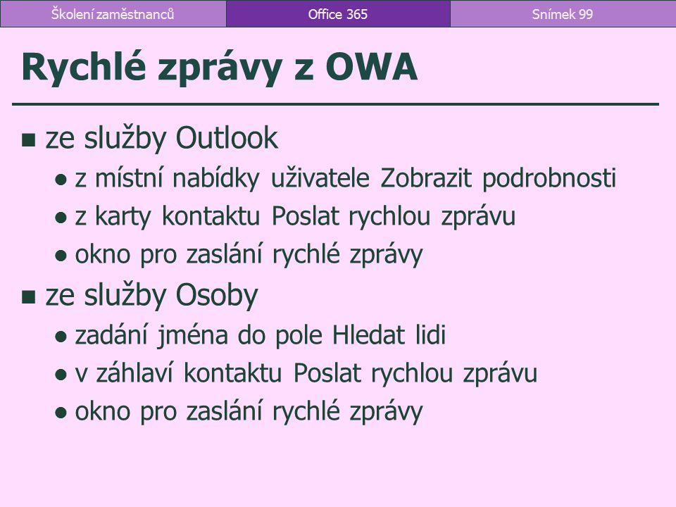 Rychlé zprávy z OWA ze služby Outlook ze služby Osoby