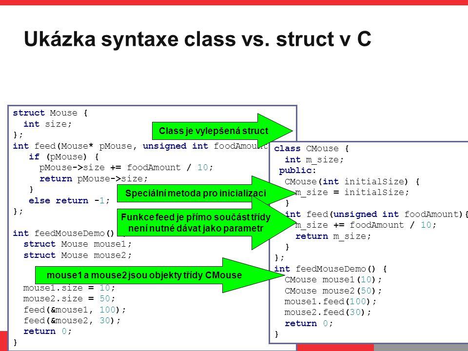 Ukázka syntaxe class vs. struct v C
