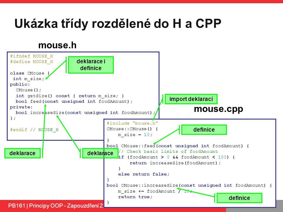 Ukázka třídy rozdělené do H a CPP