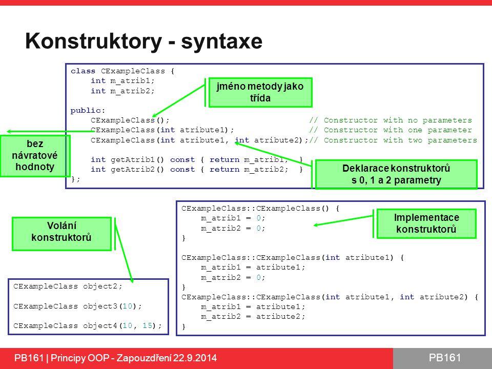 Konstruktory - syntaxe