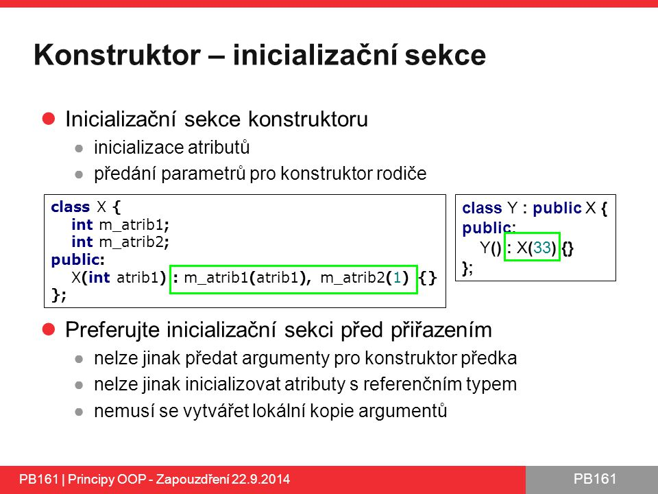 Konstruktor – inicializační sekce