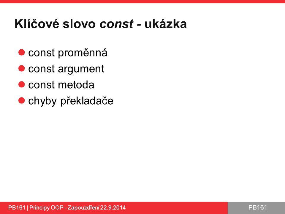 Klíčové slovo const - ukázka