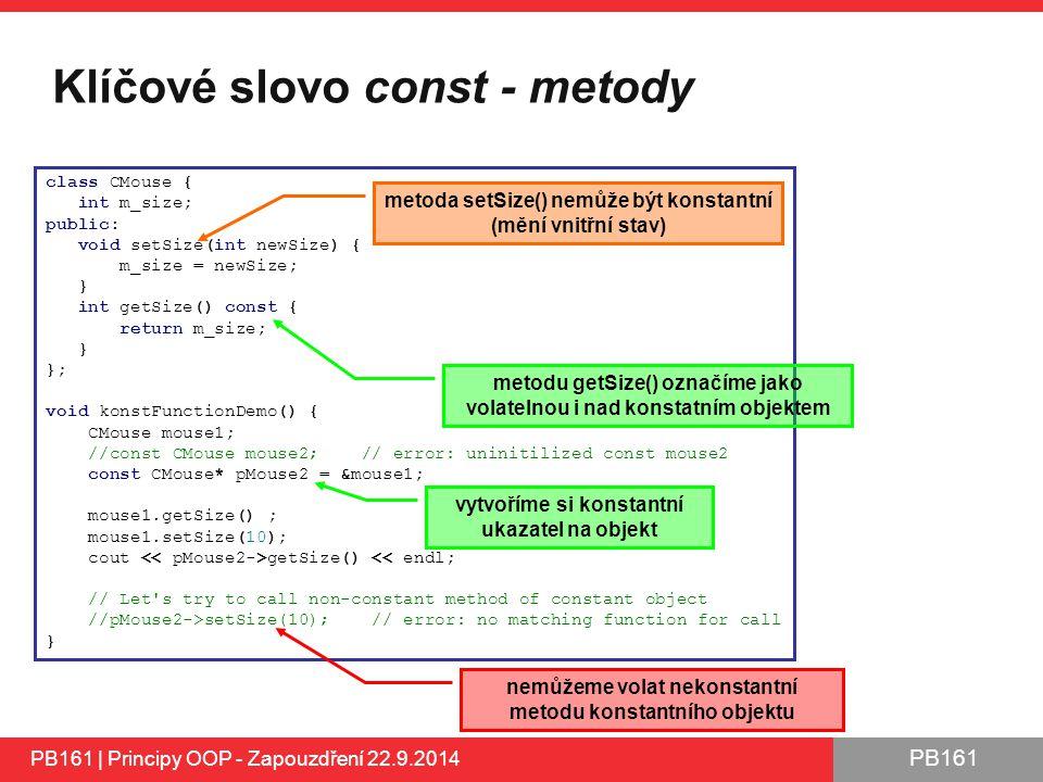 Klíčové slovo const - metody