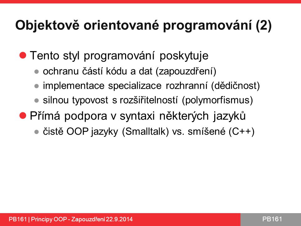 Objektově orientované programování (2)