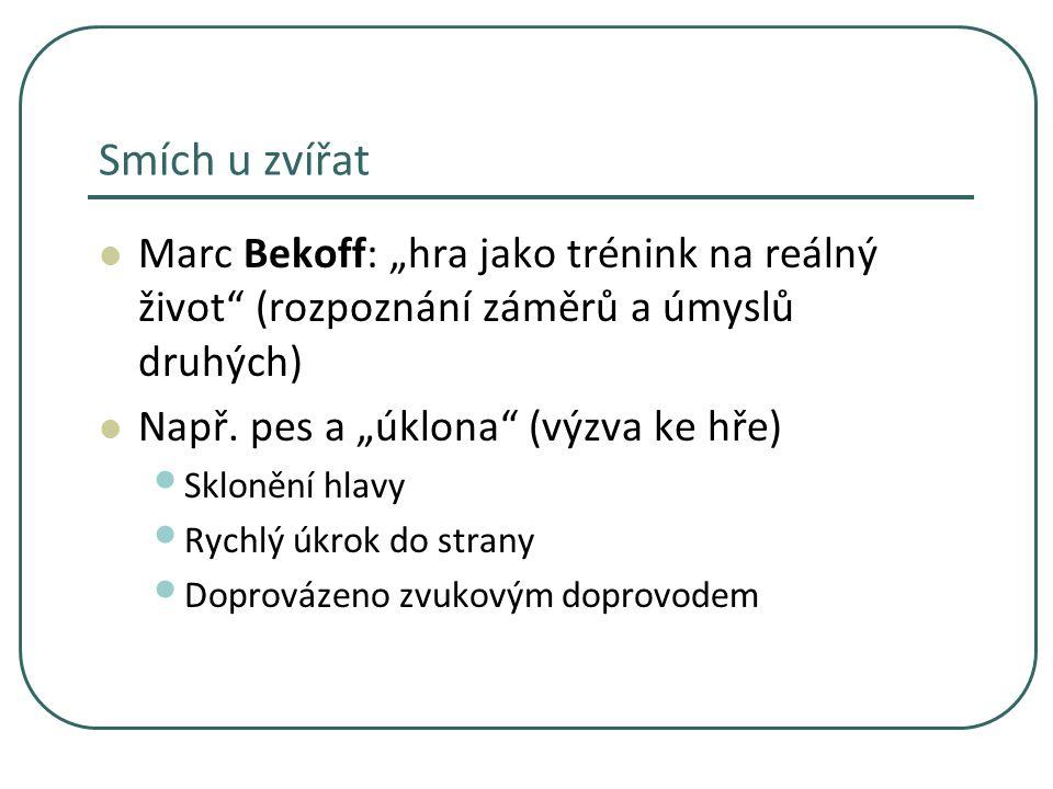 """Smích u zvířat Marc Bekoff: """"hra jako trénink na reálný život (rozpoznání záměrů a úmyslů druhých)"""