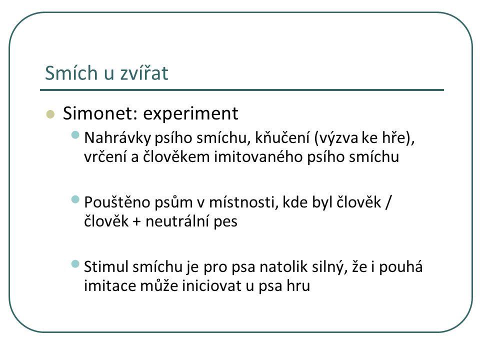 Smích u zvířat Simonet: experiment