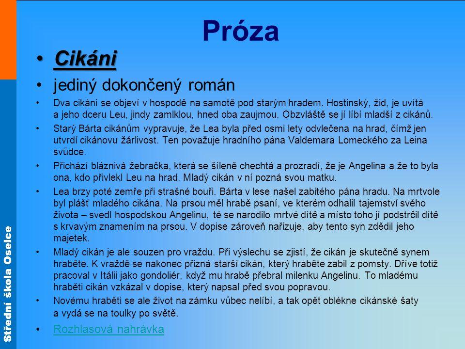 Próza Cikáni jediný dokončený román Rozhlasová nahrávka