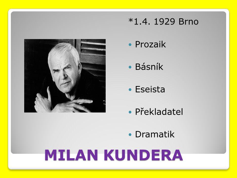 MILAN KUNDERA *1.4. 1929 Brno Prozaik Básník Eseista Překladatel