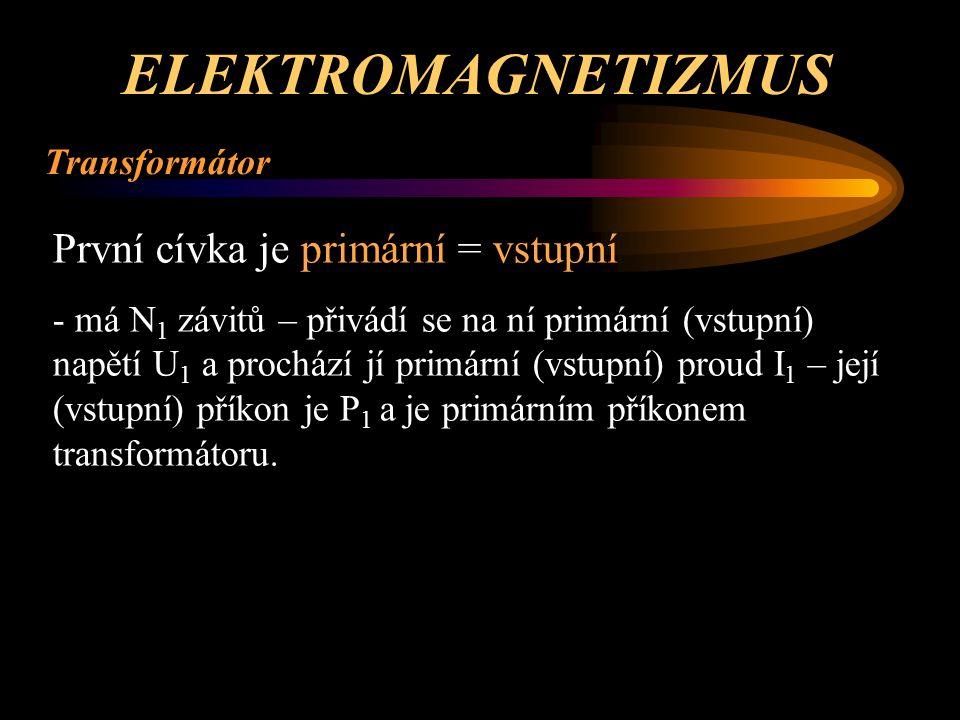 ELEKTROMAGNETIZMUS První cívka je primární = vstupní Transformátor