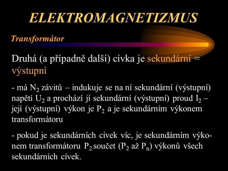 ELEKTROMAGNETIZMUS Transformátor. Druhá (a případně další) cívka je sekundární = výstupní.