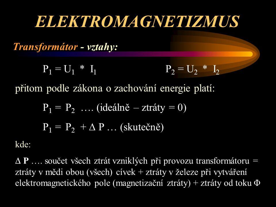 ELEKTROMAGNETIZMUS Transformátor - vztahy: