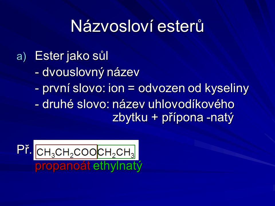 Názvosloví esterů Ester jako sůl - dvouslovný název