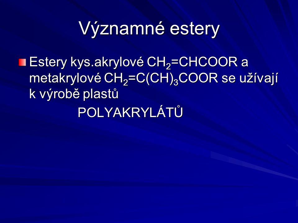 Významné estery Estery kys.akrylové CH2=CHCOOR a metakrylové CH2=C(CH)3COOR se užívají k výrobě plastů.