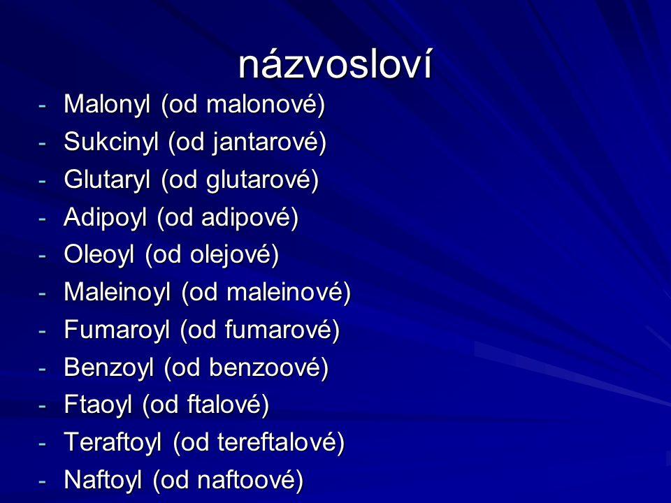 názvosloví Malonyl (od malonové) Sukcinyl (od jantarové)