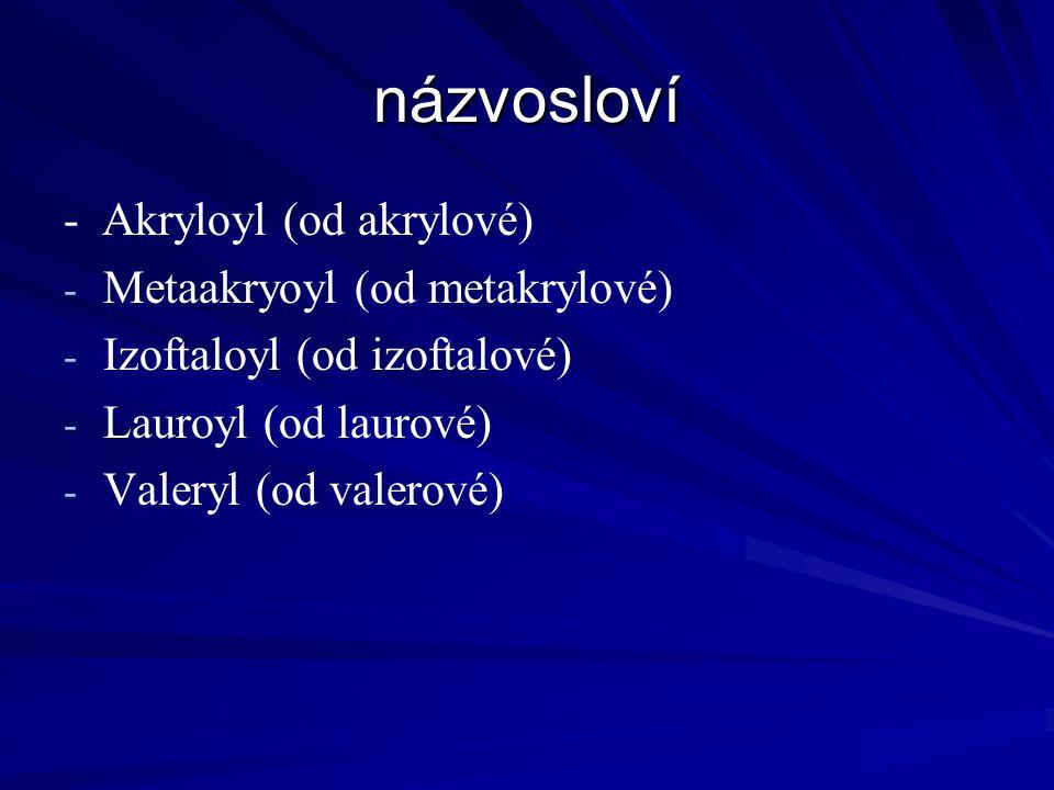 názvosloví - Akryloyl (od akrylové) Metaakryoyl (od metakrylové)