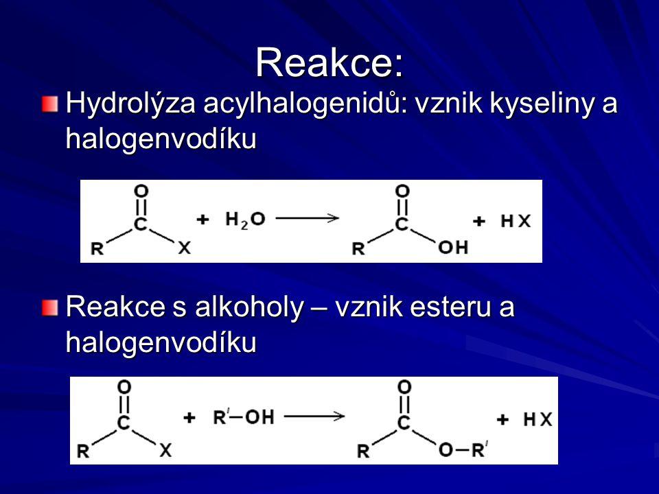 Reakce: Hydrolýza acylhalogenidů: vznik kyseliny a halogenvodíku
