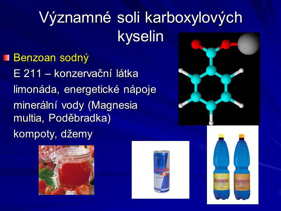Významné soli karboxylových kyselin