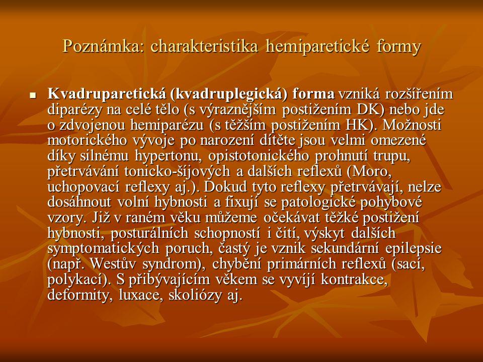 Poznámka: charakteristika hemiparetické formy