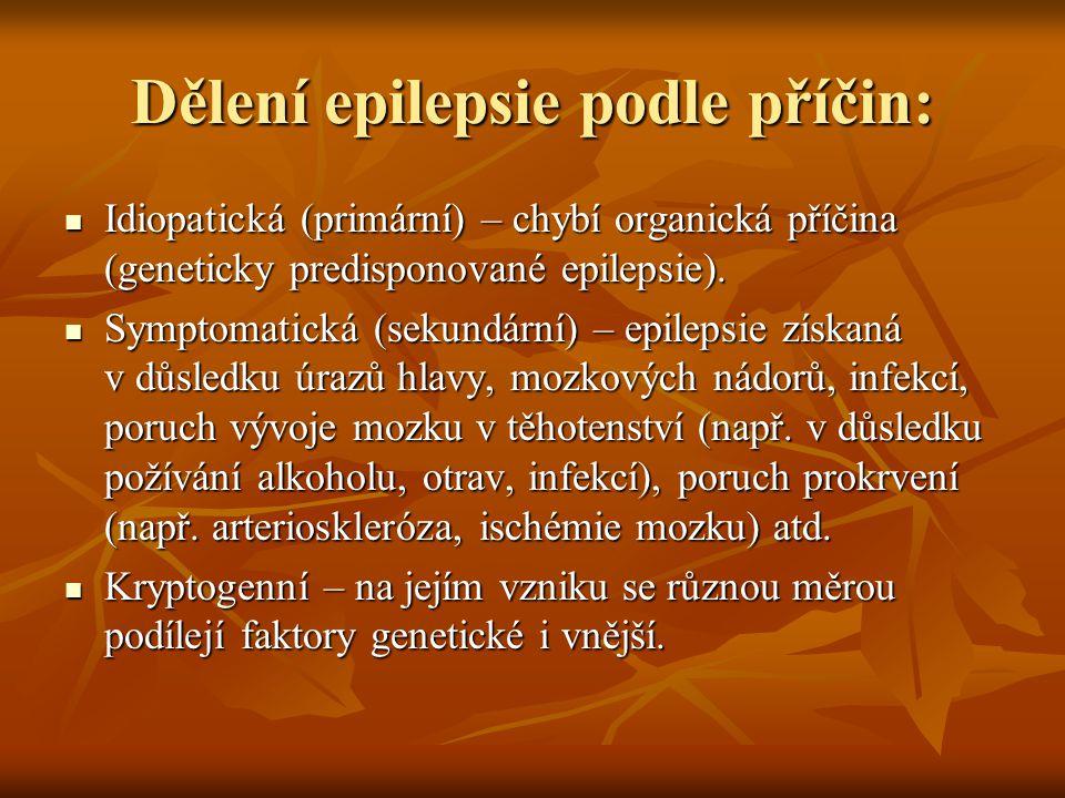 Dělení epilepsie podle příčin: