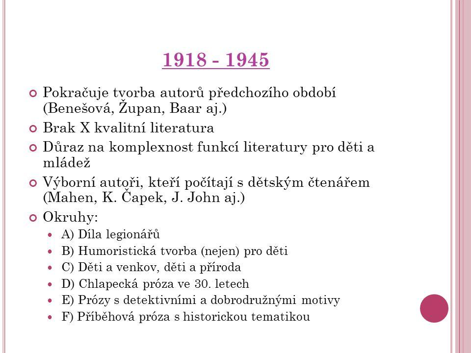 1918 - 1945 Pokračuje tvorba autorů předchozího období (Benešová, Župan, Baar aj.) Brak X kvalitní literatura.