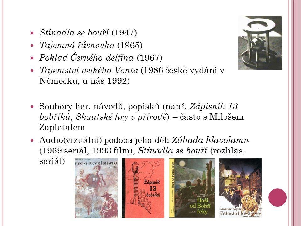 Stínadla se bouří (1947) Tajemná řásnovka (1965) Poklad Černého delfína (1967) Tajemství velkého Vonta (1986 české vydání v Německu, u nás 1992)