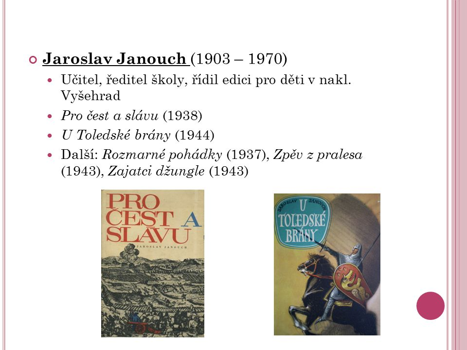 Jaroslav Janouch (1903 – 1970) Učitel, ředitel školy, řídil edici pro děti v nakl. Vyšehrad. Pro čest a slávu (1938)