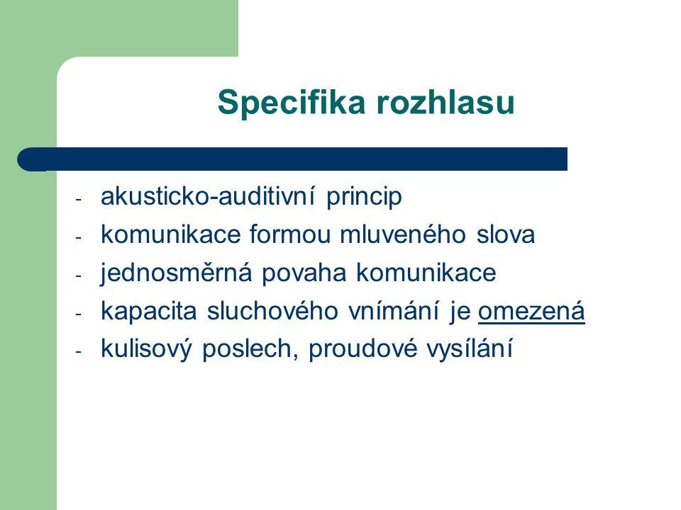 Specifika rozhlasu akusticko-auditivní princip