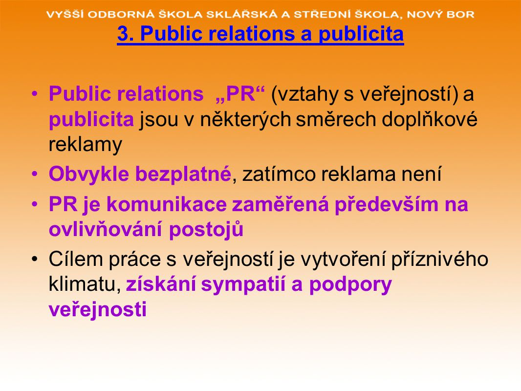 3. Public relations a publicita