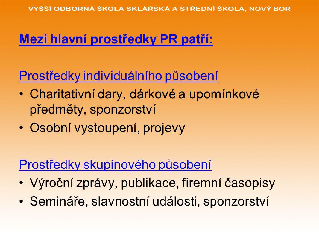 Mezi hlavní prostředky PR patří: