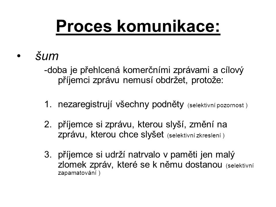 Proces komunikace: šum