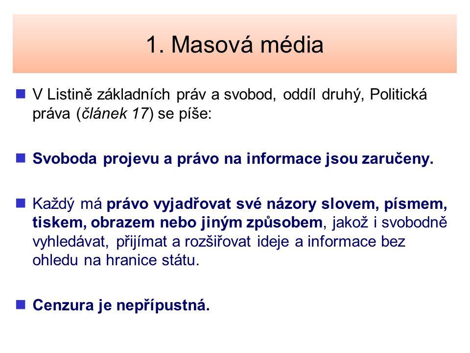 1. Masová média V Listině základních práv a svobod, oddíl druhý, Politická práva (článek 17) se píše: