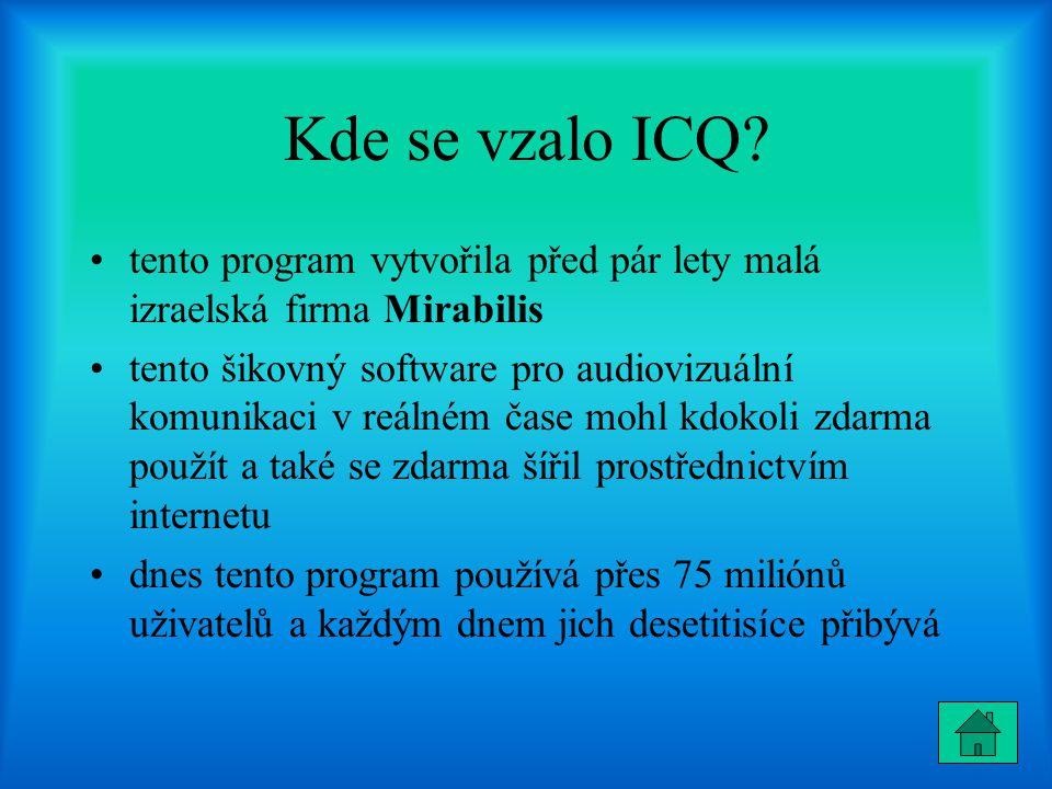Kde se vzalo ICQ tento program vytvořila před pár lety malá izraelská firma Mirabilis.