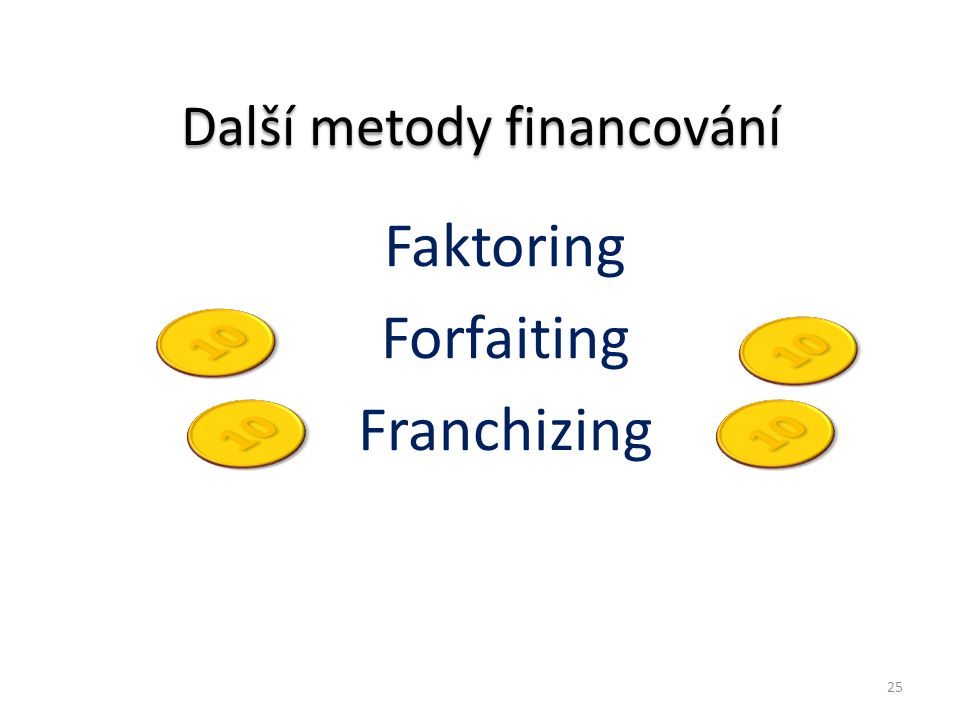 Další metody financování