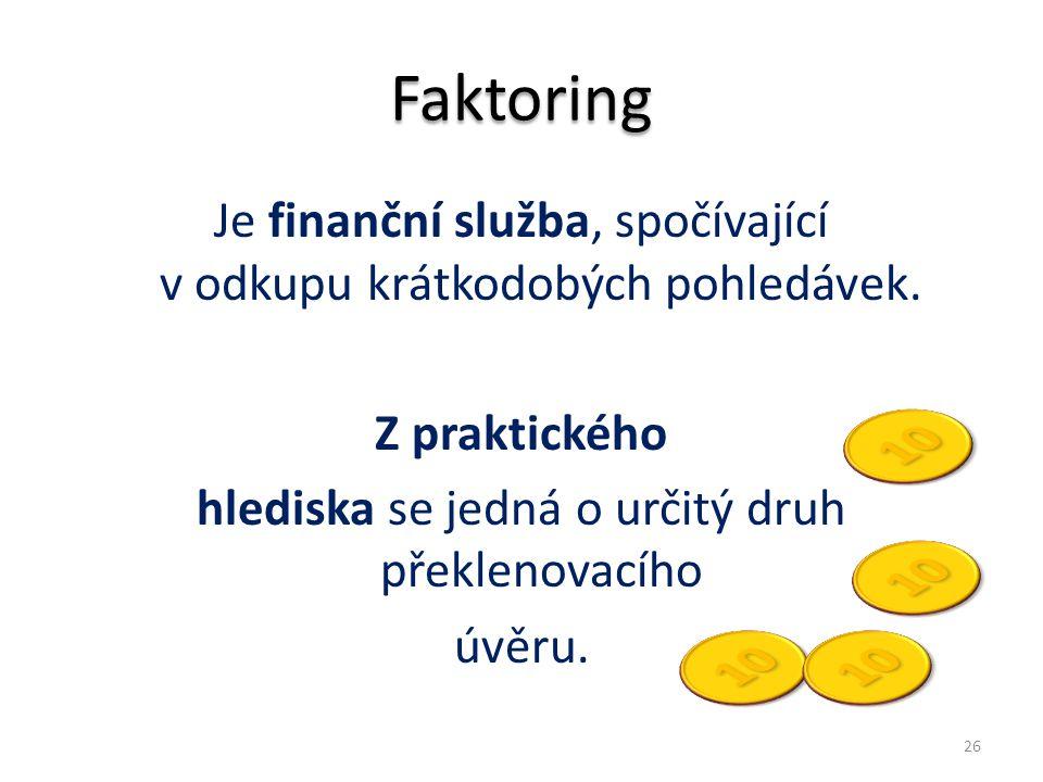 Faktoring Je finanční služba, spočívající v odkupu krátkodobých pohledávek. Z praktického hlediska se jedná o určitý druh překlenovacího úvěru.