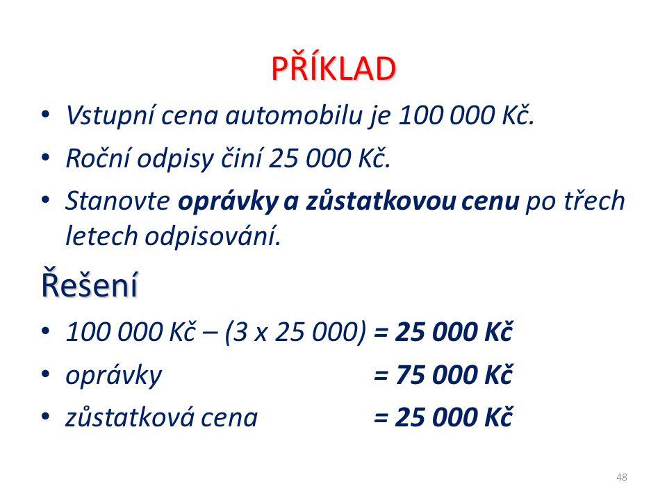 PŘÍKLAD Řešení Vstupní cena automobilu je 100 000 Kč.