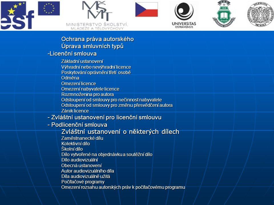 Ochrana práva autorského Úprava smluvních typů Licenční smlouva
