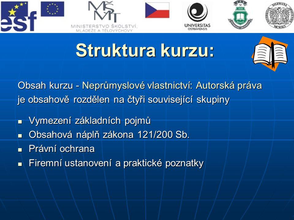 Struktura kurzu: Obsah kurzu - Neprůmyslové vlastnictví: Autorská práva. je obsahově rozdělen na čtyři související skupiny.