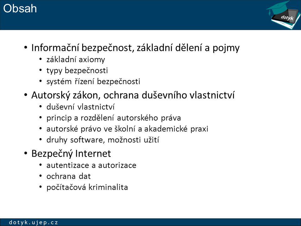 Obsah Informační bezpečnost, základní dělení a pojmy