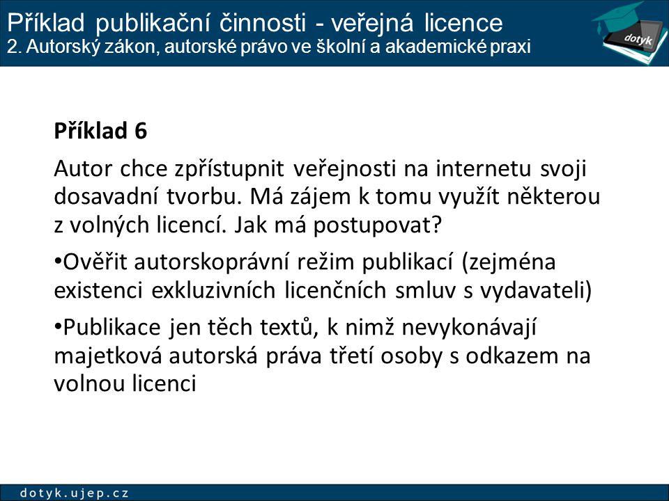 Příklad publikační činnosti - veřejná licence 2