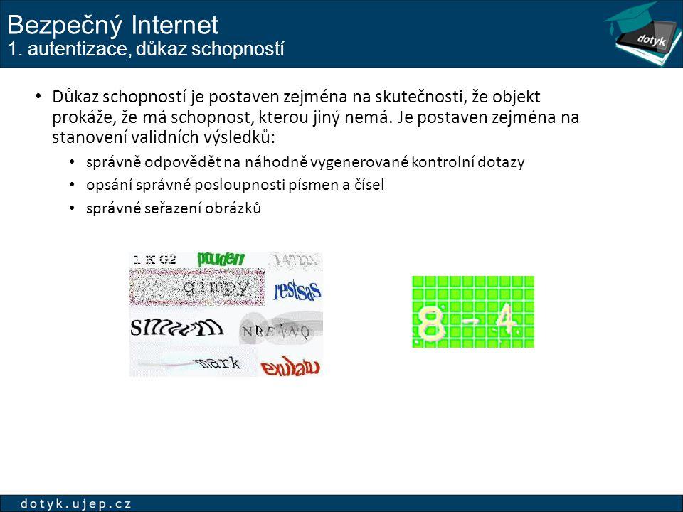 Bezpečný Internet 1. autentizace, důkaz schopností